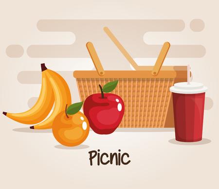 picnic basket with food vector illustration design