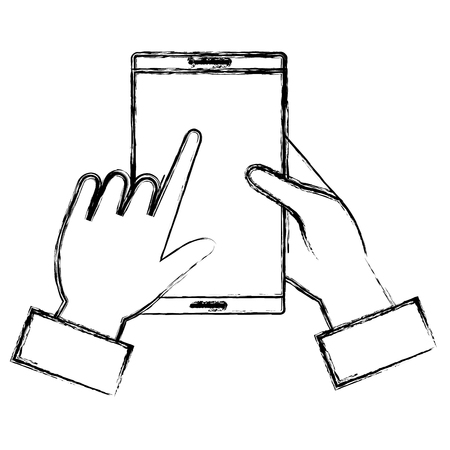 hands using smartphone device vector illustration design Illustration