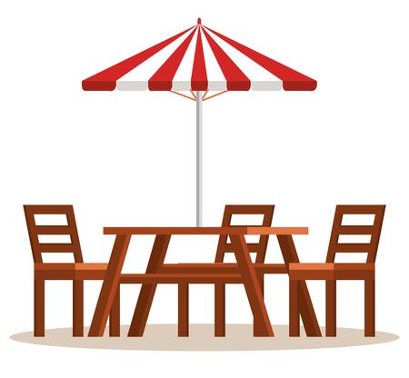 Mesa de picnic con diseño de ilustración de vector de escena de paraguas Foto de archivo - 99160896