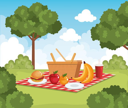 tableclothes picnic with food scene vector illustration design