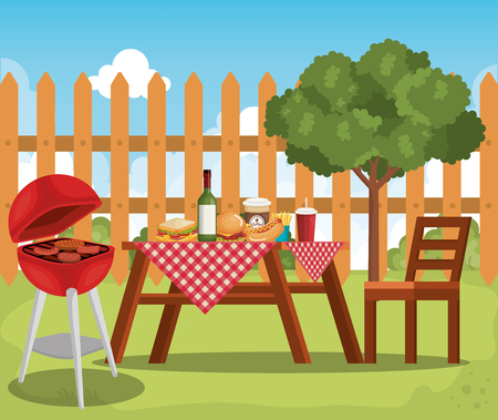 picnic table with tableclothes scene vector illustration design