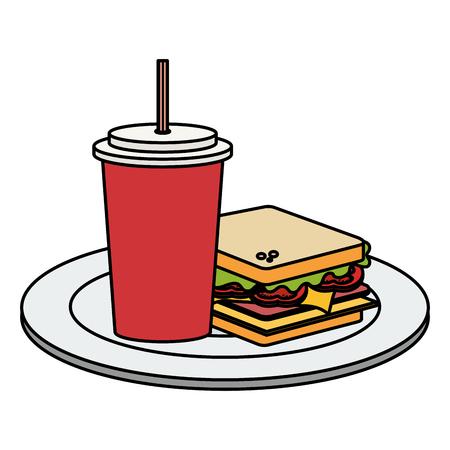 delicious sandwich and soda fast food icon vector illustration design Illusztráció