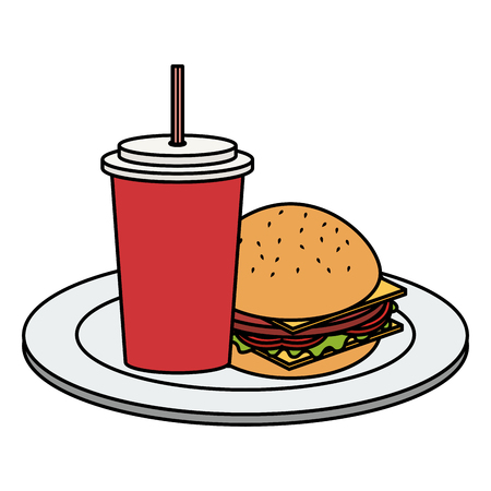 dish with delicious burger and soda vector illustration design