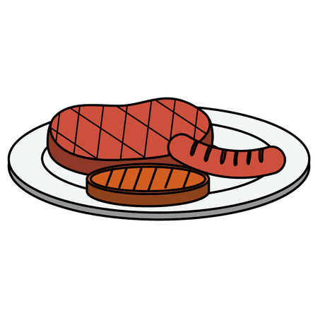 set grill meats icon vector illustration design