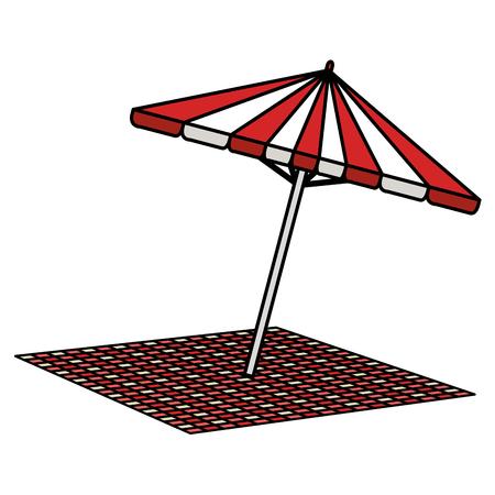 picnic umbrella with tableclothes vector illustration design