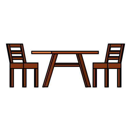 Wooden table with chairs vector illustration design Фото со стока - 99263573