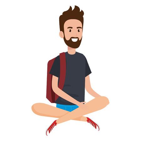 Hand drawn man student sitting on the floor Illustration