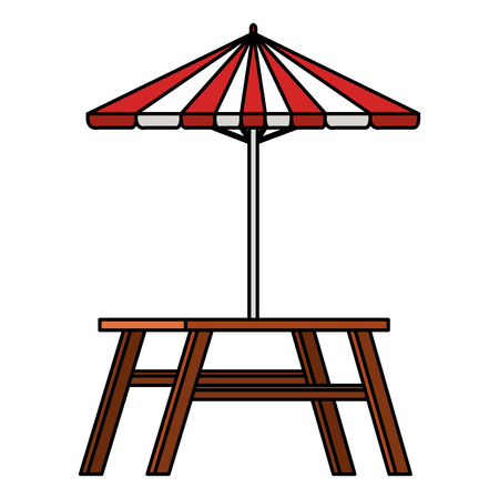 Hand drawn picnic table with umbrella vector illustration design