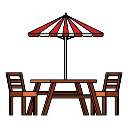 パラソルベクトルイラストデザインのピクニックテーブル  イラスト・ベクター素材