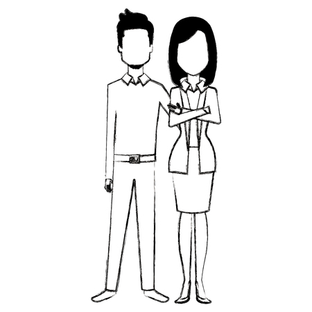 business couple avatars characters vector illustration design Stock Vector - 99230251
