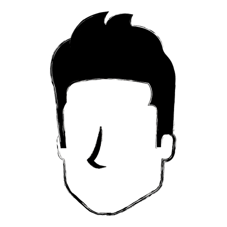 young man head avatar character vector illustration design 矢量图像