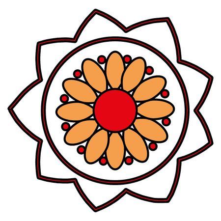 flower ethnicity decorative icon vector illustration design  イラスト・ベクター素材