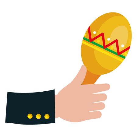 Hand with maracas tropical instrument icon vector illustration design. Illustration