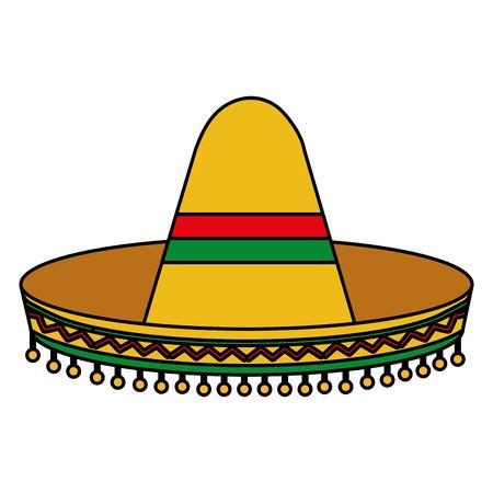 Progettazione classica dell'illustrazione di vettore del cappello della cultura messicana. Archivio Fotografico - 99312575