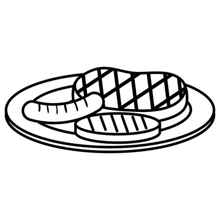 グリル肉アイコンベクトルイラストデザインを設定