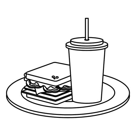 おいしいサンドイッチとソーダファーストフードアイコンベクトルイラストデザイン  イラスト・ベクター素材