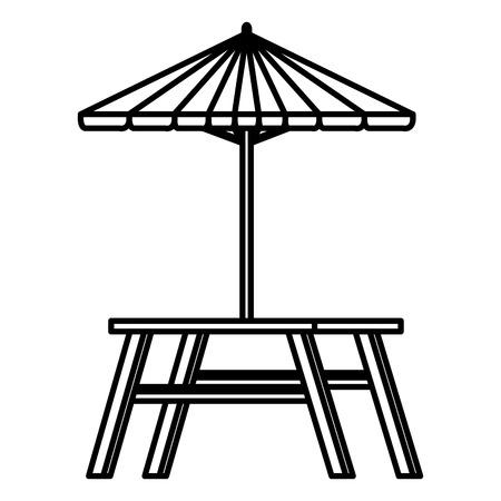 picnic table with umbrella vector illustration design Illustration