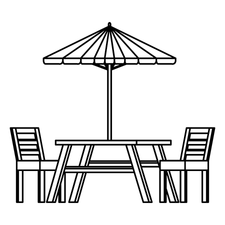 picnic table with umbrella vector illustration design  イラスト・ベクター素材