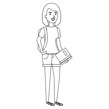 woman student avatar character vector illustration design