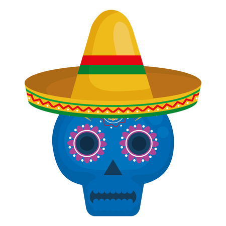 death day mask with mexican hat celebration vector illustration design Archivio Fotografico - 99256610