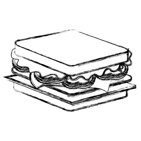 おいしいサンドイッチファーストフードアイコンベクトルイラストデザイン