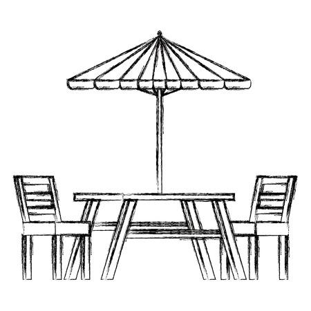 傘ベクトルイラストデザインのピクニックテーブル  イラスト・ベクター素材