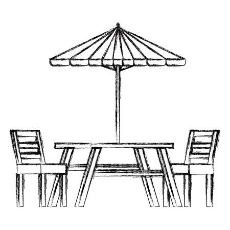 picnic table with umbrella vector illustration design Иллюстрация