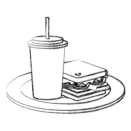 delicious sandwich and soda fast food icon vector illustration design Illustration