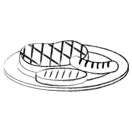 Set Grill Fleisch Symbol Vektor-Illustration Design Standard-Bild - 99233235