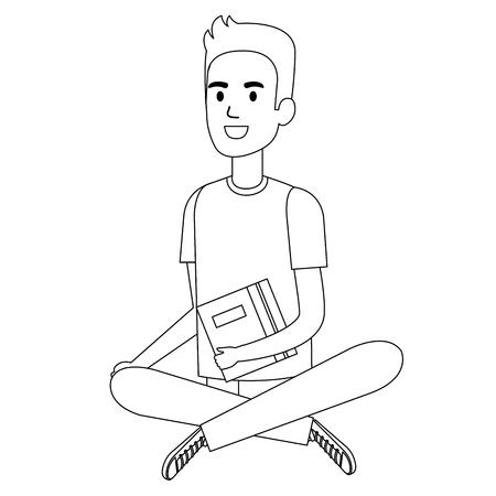 man student sitting on the floor avatar character vector illustration design Illustration