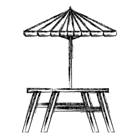 picnic table with umbrella vector illustration design Çizim