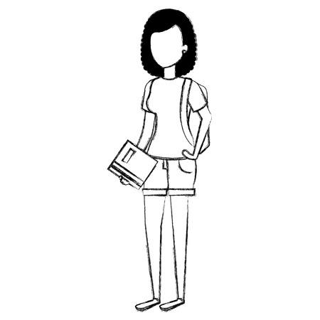 woman student avatar character vector illustration design