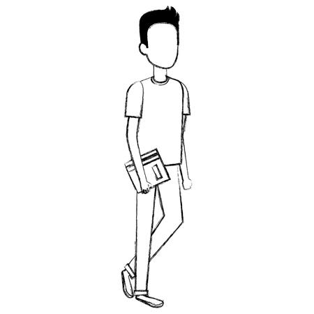 man student avatar character vector illustration design Illustration