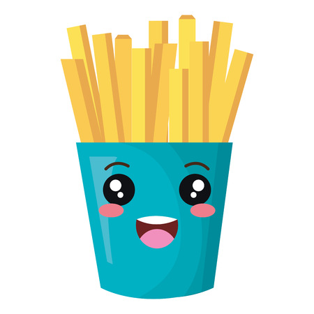french fries potatoes kawaii character vector illustration design