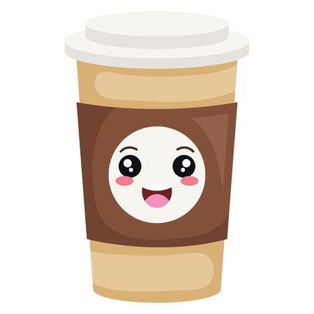 coffee plastic cup kawaii character vector illustration design Stock Illustratie