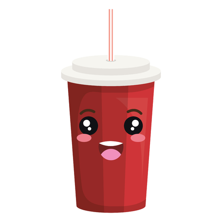 soda in plastic container kawaii character vector illustration design