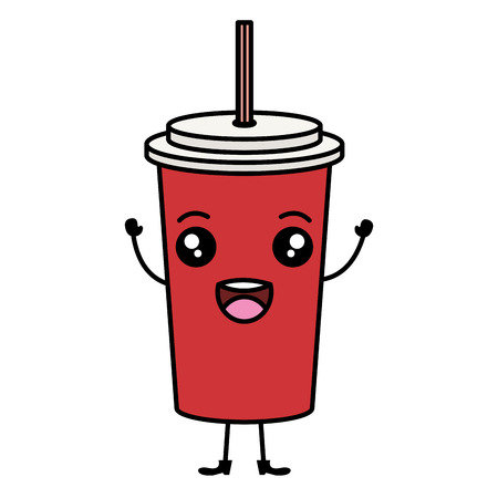 soda in plastic container  character vector illustration design