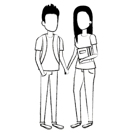 couple of students characters vector illustration design