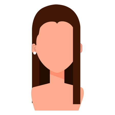 An illustration of a shirtless woman with no face with long brown hair.