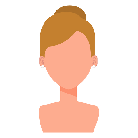 An illustration of a shirtless woman with no face with golden brown hair in a bun.