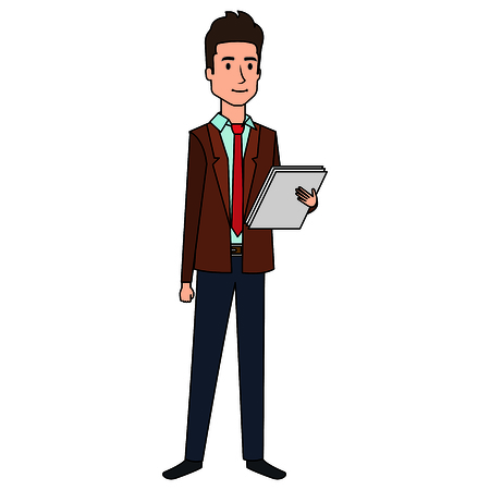 businessman with documents avatar character vector illustration design Çizim