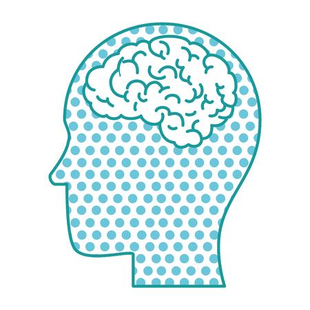 A profile with human brain organ icon.