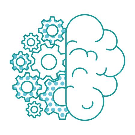 brain human with gears vector illustration design