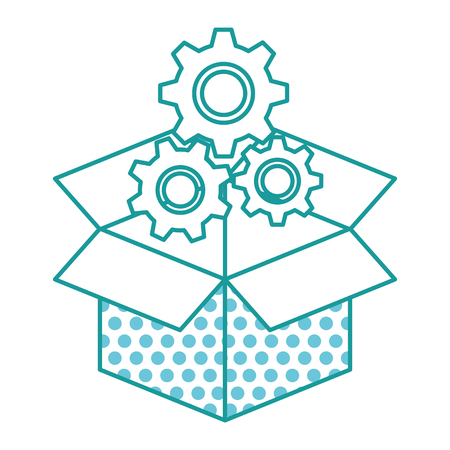 carton box with gears machine vector illustration design