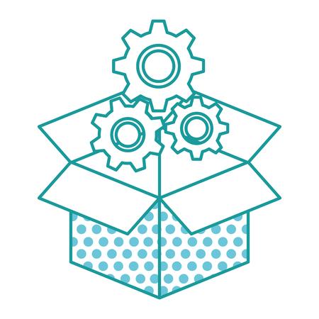 carton box with gears machine vector illustration design
