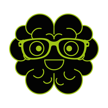 brain with glasses character vector illustration design Stock Vector - 99239161