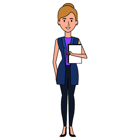 Businesswoman with documents avatar character vector illustration design