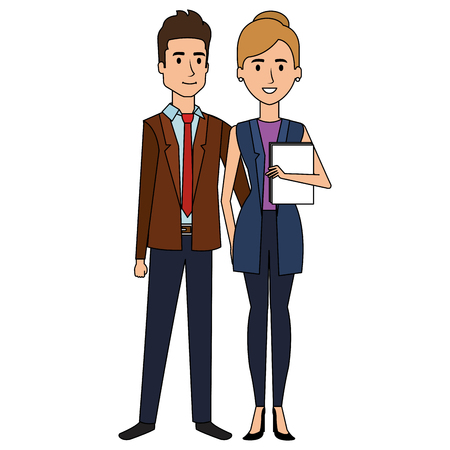 Business couple avatars characters vector illustration design Stock Vector - 99291480