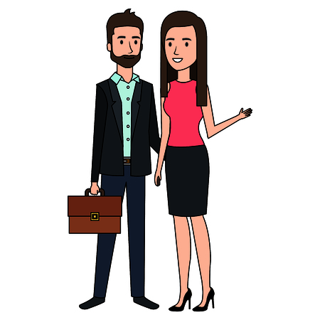 Business couple avatars characters vector illustration design Stock Vector - 99291482
