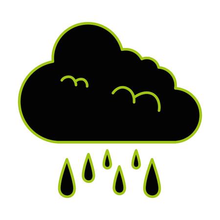 Climate cloud with rain drops vector illustration design Illustration